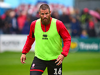 Lincoln City's Michael Bostwick during the pre-match warm-up<br /> <br /> Photographer Andrew Vaughan/CameraSport<br /> <br /> The EFL Sky Bet League Two - Lincoln City v Crewe Alexandra - Saturday 6th October 2018 - Sincil Bank - Lincoln<br /> <br /> World Copyright &copy; 2018 CameraSport. All rights reserved. 43 Linden Ave. Countesthorpe. Leicester. England. LE8 5PG - Tel: +44 (0) 116 277 4147 - admin@camerasport.com - www.camerasport.com