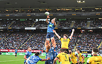 14th June 2020, Aukland, New Zealand; Blues tacke the lineout at the Investec Super Rugby Aotearoa match, between the Blues and Hurricanes held at Eden Park, Auckland, New Zealand.