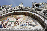 Mosaici sulla facciata della Basilica di San Marco a Venezia.<br /> Mosaics on the facade of Patriarchal Cathedral Basilica of St. Mark, in Venice.<br /> UPDATE IMAGES PRESS/Riccardo De Luca