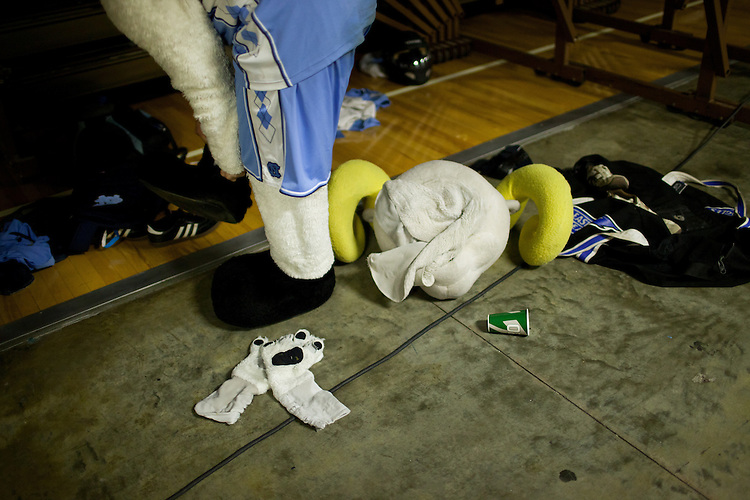 Rameses suits up - UNC vs Mississippi Valley State at the Dean Smith Center, Chapel Hill, NC, Sunday, November 20, 2011. .
