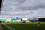 Stockport players warming up. Stockport County v Barnet, 07032020. Edgeley Park, National League. Photo by Paul Thompson.