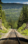 Single rail track, close to Squamish. North Vancouver, British Columbia, Canada.