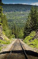 Single rail track, close to Squamish. North Vancouver, British Columbia, Canada.