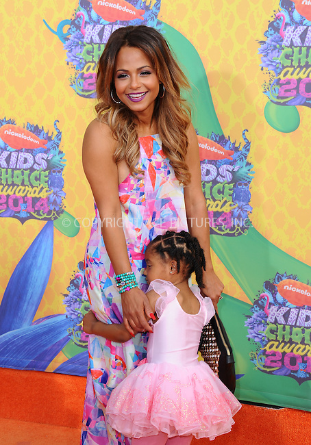 WWW.ACEPIXS.COM<br /> <br /> <br /> March 29,2014, Los Angeles,CA<br /> <br /> <br /> Christina Milian and daughter Violet arriving at Nickelodeon's 27th Annual Kids' Choice Awards held at USC Galen Center on March 29, 2014 in Los Angeles, California.<br /> <br /> <br /> <br /> By Line: Peter West/ACE Pictures<br /> <br /> ACE Pictures, Inc<br /> Tel: 646 769 0430<br /> Email: info@acepixs.com