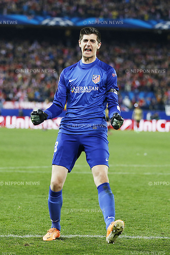 Thibaut Courtois (Atletico), MARCH 11, 2014 - Football / Soccer : Courtois celebrate after Raul Garcia's goal on UEFA Champions League match between Atletico de Madrid and AC Milan at the Vicente Calderon Stadium in Madrid, Spain. (Photo by AFLO) [3604]