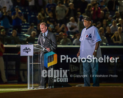 1 April 2016: Baseball broadcaster and former professional player Marc Griffin introduces former Montreal Expo Ellis Valentine prior to a pre-season exhibition game between the Boston Red Sox and the Toronto Blue Jays at Olympic Stadium in Montreal, Quebec, Canada. The Red Sox defeated the Blue Jays 4-2 in the first of two MLB weekend exhibition games, which saw an attendance of 52,682 at the former home on the Montreal Expos. Mandatory Credit: Ed Wolfstein Photo *** RAW (NEF) Image File Available ***