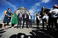 From left: Louisa Wall, Jan Logie (Greens), James Shaw (Greens), Grant Robertson (Labour) Chris Bishop (National) and speaker, from Action Station, Laura O'Connell-Rapira. Semi-automatic weapons ban and firearms advertising regulation petitions at Parliament in Wellington, New Zealand on Thursday, 21 March 2019. Photo: Dave Lintott / lintottphoto.co.nz
