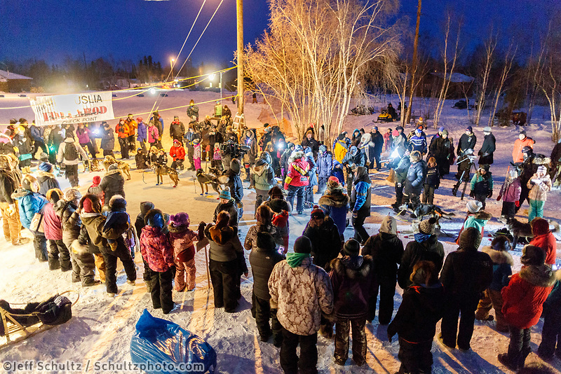 Mitch Seavey wins the GCI Dorothy G. Page Halfway award at the Huslia checkpoint during the 2017 Iditarod on Thursday night  March 9, 2017.<br /> <br /> Photo by Jeff Schultz/SchultzPhoto.com  (C) 2017  ALL RIGHTS RESERVED