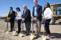 May 30 2008.  Liberty Station, Point Loma, CA, USA.  San Diego Scott McMillin, XX, City Mayor Jerry Sanders, Councilmember (District 2) Kevin Faulconer and Stacey LoMedico perform a ground breaking ceremony for Phase 2 of the NTC Park development at Liberty Station.   The 28 acre park will include landscape for passive uses, two large pinic areas, benches & barbeques, restrooms, a playground, walking trails, large open spaces and open spaces.  It is anticipated to be completed by Summer 2009.
