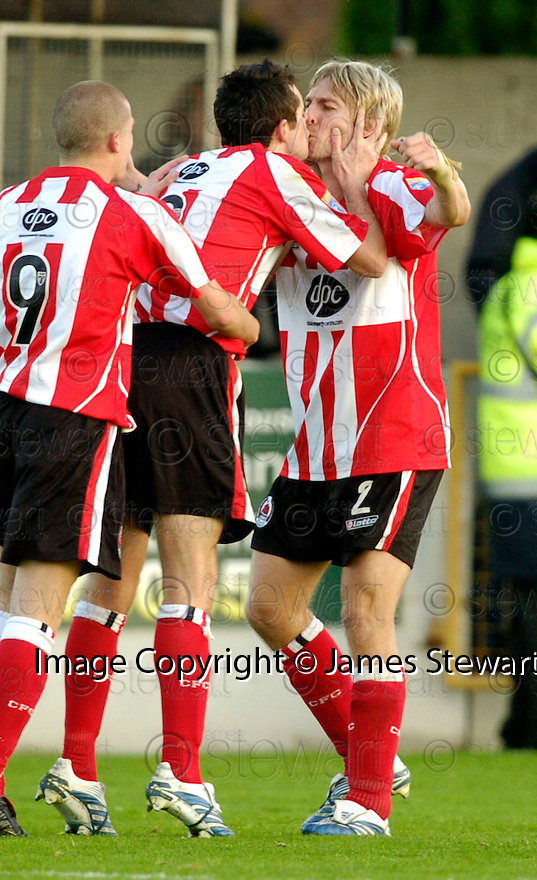 21/10/2006       Copyright Pic: James Stewart.File Name :sct_jspa07_gretna_v_clyde.STEPHEN O'DONNELL GETS A KISS FROM NEIL MCGREGOR AFTER HE SCORES CLYDE'S SECOND.Payments to :.James Stewart Photo Agency 19 Carronlea Drive, Falkirk. FK2 8DN      Vat Reg No. 607 6932 25.Office     : +44 (0)1324 570906     .Mobile   : +44 (0)7721 416997.Fax         : +44 (0)1324 570906.E-mail  :  jim@jspa.co.uk.If you require further information then contact Jim Stewart on any of the numbers above.........