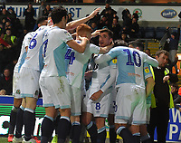 Blackburn Rovers' Joe Rothwell is congratulated on scoring his team's opening goal<br /> <br /> Photographer Dave Howarth/CameraSport<br /> <br /> The EFL Sky Bet Championship - Blackburn Rovers v Derby County -Tuesday 9th April 2019 - Ewood Park - Blackburn<br /> <br /> World Copyright &copy; 2019 CameraSport. All rights reserved. 43 Linden Ave. Countesthorpe. Leicester. England. LE8 5PG - Tel: +44 (0) 116 277 4147 - admin@camerasport.com - www.camerasport.com