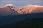 sunrise, sky, color, Mount Meeker, Longs Peak, Mount Lady Washington, forest, Rocky Mountains, Colorado, USA
