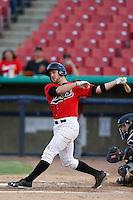 Pat Kivlehan #17 of the High Desert Mavericks bats against the Visalia Rawhide at Stater Bros. Stadium on July 20, 2013 in Adelanto, California. High Desert defeated Visalia, 7-4. (Larry Goren/Four Seam Images)