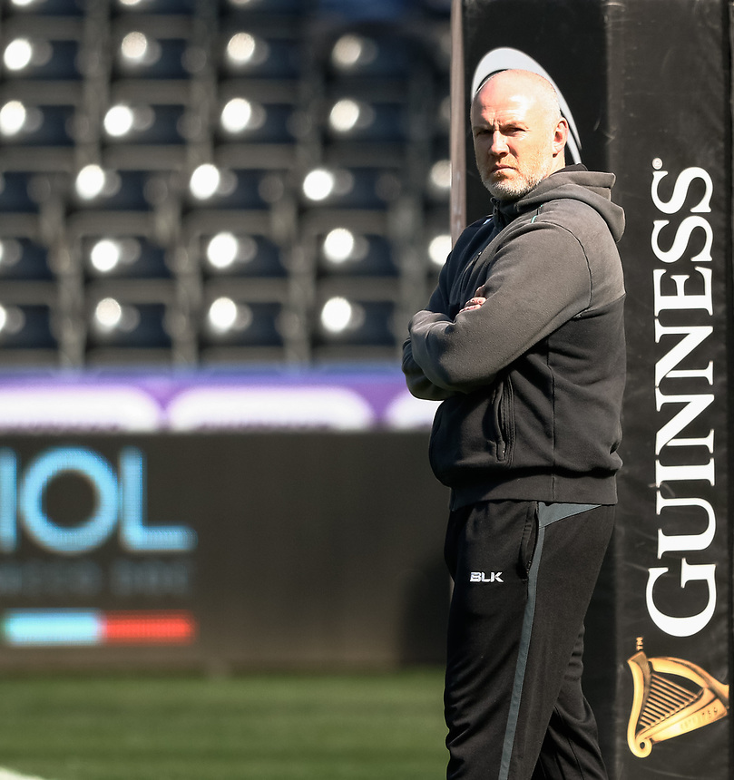 Ospreys' Head Coach Steve Tandy during the pre match warm up<br /> <br /> Photographer Simon King/CameraSport<br /> <br /> Guinness PRO12 Round 19 - Ospreys v Leinster Rugby - Saturday 8th April 2017 - Liberty Stadium - Swansea<br /> <br /> World Copyright &copy; 2017 CameraSport. All rights reserved. 43 Linden Ave. Countesthorpe. Leicester. England. LE8 5PG - Tel: +44 (0) 116 277 4147 - admin@camerasport.com - www.camerasport.com