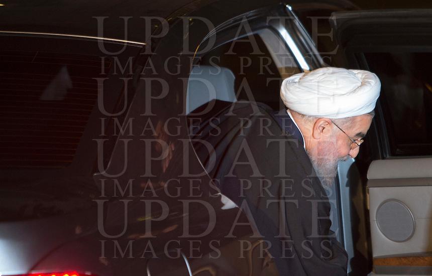 Il presidente dell'Iran Hassan Rouhani arriva in piazza del Campidoglio, Roma, 25 gennaio 2016.<br /> Iran's President Hassan Rouhani arrives in Piazza del Campidoglio to meet the Italian Premier, in Rome, 25 January 2016.<br /> UPDATE IMAGES PRESS/Riccardo De Luca