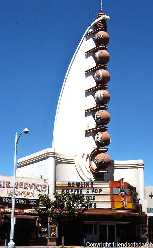 "San Diego: Tower Bowl, 1940. S. Charles Lee. ""The Streamline Moderne by a West Coast master"". 28 bowling alleys. Demolished. Broadway and Kettner. (Replaced by American Plaza. Photo '76."
