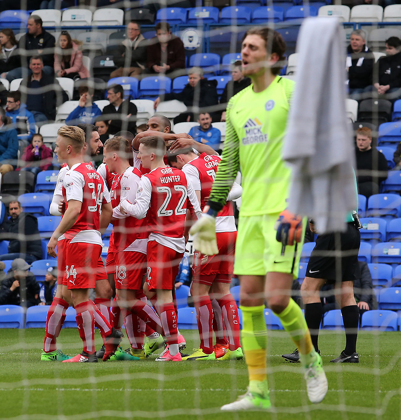 Fleetwood Town celebrate after Bobby Grant gives them the lead<br /> <br /> Photographer David Shipman/CameraSport<br /> <br /> The EFL Sky Bet League One - Peterborough United v Fleetwood Town - Friday 14th April 2016 - ABAX Stadium  - Peterborough<br /> <br /> World Copyright &copy; 2017 CameraSport. All rights reserved. 43 Linden Ave. Countesthorpe. Leicester. England. LE8 5PG - Tel: +44 (0) 116 277 4147 - admin@camerasport.com - www.camerasport.com