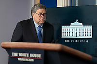 United States Attorney General William P. Barr arrives to participate in a news briefing by members of the Coronavirus Task Force at the White House in Washington, DC on Monday, March 23, 2020. <br /> Credit: Chris Kleponis / Pool via CNP/AdMedia