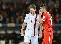 Fussball International  WM Qualifikation 2014   12.10.2012 Schweiz - Norwegen Granit Xhaka (re, Schweiz) gegen Havard Nordtveit (Norwegen)