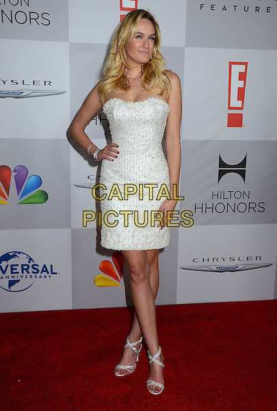 Ashlan Gorse.NBC Universal Golden Globes After Party held at the Beverly Hilton Hotel, Hollywood, California, USA..January 15th, 2012.full length white dress strapless hand on hip  .CAP/ADM/BT.©Birdie Thompson/AdMedia/Capital Pictures.