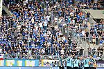 05.08.2019, Carl-Benz-Stadion, Mannheim, GER, 3. Liga, SV Waldhof Mannheim vs. TSV 1860 Muenchen, <br /> <br /> DFL REGULATIONS PROHIBIT ANY USE OF PHOTOGRAPHS AS IMAGE SEQUENCES AND/OR QUASI-VIDEO.<br /> <br /> im Bild: Die Mannschaft des SV Waldhof vor den Fans<br /> <br /> Foto © nordphoto / Fabisch