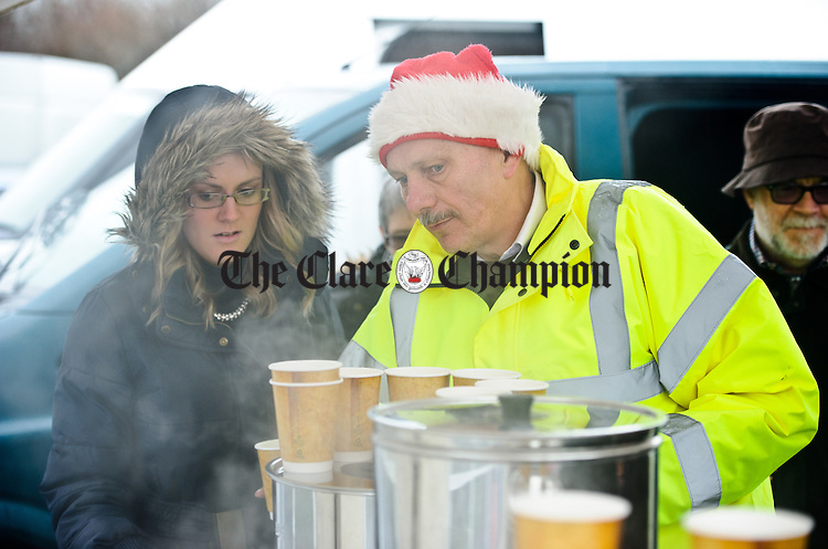 Dan O Connell looking after the hot beverages during the annual Christmas day swim at Gortglas  Lake, Kildysart in aid of the West Clare Mini Marathon Cancer fund. Photograph by John Kelly.