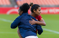 HOUSTON, TX - JANUARY 28: Raquel Rodriguez #11 of Costa Rica shakes hands during a game between Costa Rica and Panama at BBVA Stadium on January 28, 2020 in Houston, Texas.