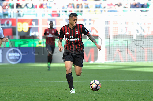 April 23rd 2017, San Siro Stadium, Milan, Italy; Gianluca Lapadula of Milan in action during Serie A football AC Milan versus Empoli;