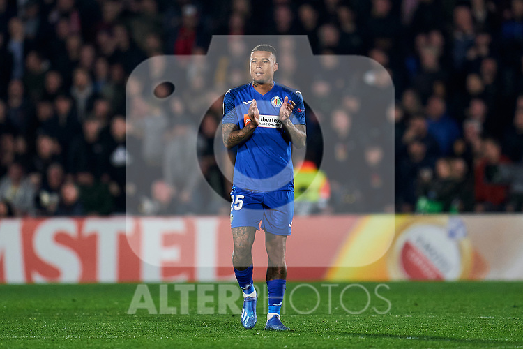Kenedy of Getafe FC celebrates the victory during UEFA Europa League match between Getafe CF and AFC Ajax at Coliseum Alfonso Perez in Getafe, Spain. February 20, 2020. (ALTERPHOTOS/A. Perez Meca)