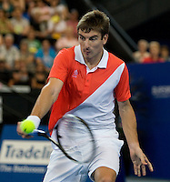 Tommy Robredo (ESP) against Andy Murray (GBR) in the final between Great Britain and Spain. Tommy Robredo (ESP) beat Andy Murray (GBR) 1-6 6-4 6-3..International Tennis - Hyundai Hopman Cup XXII - Sat 00 Jan 2010 - Burswood Dome - Perth - Australia ..© Frey - AMN Images, 1st Floor Barry House, 20-22 Worple Road, London, SW19 4DH