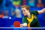 Sarah Lazzaro of Australia during the first round WIC9 match against China's Meili Liu at the Peking University Gymnasium in Beijing China during the 2008 Paralympic Games on the 7th September 2008; Lazzaro lost the match;