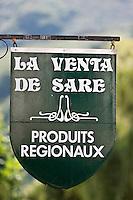 Europe/France/Aquitaine/64/Pyrénées-Atlantiques/Pays-Basque/Sare: Enseigne de la Venta de Sare