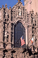 Balboa Park: San Diego: Detail of  upper facade of Museum of Man. Bertram Goodhue, Architect. Photo Jan. 1987.
