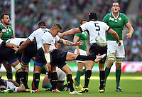 Valentin Calafeteanu of Romania box-kicks the ball. Rugby World Cup Pool D match between Ireland and Romania on September 27, 2015 at Wembley Stadium in London, England. Photo by: Patrick Khachfe / Onside Images