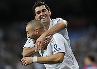 FUSSBALL   CHAMPIONS LEAGUE   SAISON 2011/2012  Achtelfinale Rueckspiel 14.03.2012 Real Madrid  - ZSKA Moskau  JUBEL Real Madrid; Torschuetze zum 3-0 Karim Benzema (unten) umarmt von Alvaro Arbeloa
