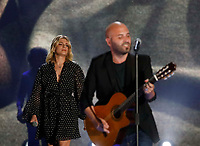 Giuliano Sangiorgi and Emma Marone performs during &quot;Pino &egrave;&quot; tribute concert at Pino Daniele, Italian singer dead in 2015,<br /> Naples 07 june 2018<br /> ph cixer