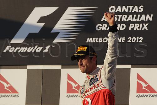 18.03.2012. Melbourne, Australia.   Jenson Button McLaren Mercedes GP Australia 2012 Formula 1 Grand Prix Australia  Jenson Button won the race with Sebbastian Vettel in second and Lewis Hamilton in third place.