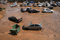 Pictured: Cars have piled on top of each other in the Maroussi and Nea Erithrea areas of Athens, Greece. Thursday 26 July 2018<br /> Re: Torrential rain has affected areas of northern Athens, Greece.