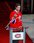 22 November 2008: Former Montreal Canadien goaltender Patrick Roy addresses the sell-out crowd, as the franchise honors his career by retiring his jersey number 33 during a pre-game ceremony at the Bell Centre in Montreal, Quebec, Canada.  ****Editorial Use Only****..Mandatory Photo Credit: Ed Wolfstein Photo *** Editorial Sales through Icon Sports Media *** www.iconsportsmedia.com