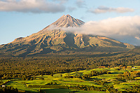 Farmland under Taranaki, Mt. Egmont, Taranaki Region, North Island, New Zealand, NZ