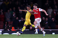 Mehdi Carcela of Standard Liege shields the ball from Kieran Tierney of Arsenal during Arsenal vs Standard Liege, UEFA Europa League Football at the Emirates Stadium on 3rd October 2019