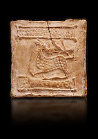 6th-7th Century Eastern Roman Byzantine  Christian Terracotta tiles depicting a stag - Produced in Byzacena -  present day Tunisia. <br /> <br /> The stag is a traditional Christian symbol for Christ, Who tramples and destroys the Devil. In the Medieval bestiaries the stag as an enemy of snakes. It was believed that stags was believed to chase snakes into their holes or rock crevices, driving them out by flooding the hole with the breath or water from its mouth, and eating them. <br /> <br /> These early Christian terracotta tiles were mass produced thanks to moulds. Their quadrangular, square or rectangular shape as well as the standardised sizes in use in the different regions were determined by their architectonic function and were designed to facilitate their assembly according to various combinations to decorate large flat surfaces of walls or ceilings. <br /> <br /> Byzacena stood out for its use of biblical and hagiographic themes and a richer variety of animals, birds and roses. Some deer and lions were obviously inspired from Zeugitana prototypes attesting to the pre-existence of this province's production with respect to that of Byzacena. The rules governing this art are similar to those that applied to late Roman and Christian art with, in the case of Byzacena, an obvious popular connotation. Its distinguishing features are flatness, a predilection for symmetrical compositions, frontal and lateral representations, the absence of tridimensional attitudes and the naivety of some details (large eyes, pointed chins). Mass production enabled this type of decoration to be widely used at little cost and it played a role as ideograms and for teaching catechism through pictures. Painting, now often faded, enhanced motifs in relief or enriched them with additional details to break their repetitive monotony.<br /> <br /> The Bardo National Museum Tunis, Tunisia.  Against a black background.