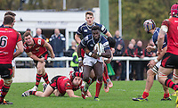 Matt Williams of London Scottish steams forward during the Greene King IPA Championship match between London Scottish Football Club and Jersey at Richmond Athletic Ground, Richmond, United Kingdom on 7 November 2015. Photo by Andy Rowland.