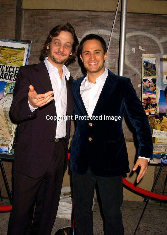 Rodrigo de la Serna and Gael Garcia Bernal ..at the New York Premiere of Motorcycle Diaries on September 20, 2004 at the Loews 19th Street Theatre. ..Photo by Robin Platzer, Twin Images