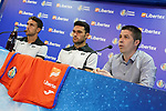 Getafe CF's Marketing Chief Alberto Heras (r) and the players Jaime Mata (l) and Jorge Molina during the new Premium Plus Partne, Libertex, official presentation. August 9, 2019. (ALTERPHOTOS/Acero)