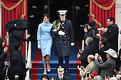 Soon to be First Lady Melania Trump is escorted to the inauguration of  President Donald Trump on January 20, 2017 in Washington, D.C.  Trump becomes the 45th President of the United States.        <br /> Credit: Pat Benic / Pool via CNP