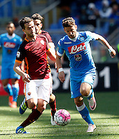 Calcio, Serie A: Roma vs Napoli. Roma, stadio Olimpico, 25 aprile 2016.<br /> Napoli&rsquo;s Dries Mertens, right, is challenged by Roma&rsquo;s Miralem Pjanic during the Italian Serie A football match between Roma and Napoli at Rome's Olympic stadium, 25 April 2016.<br /> UPDATE IMAGES PRESS/Riccardo De Luca