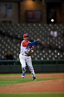 Stockton Ports third baseman Brallan Perez (2) makes a throw to first base during a California League game against the Rancho Cucamonga Quakes at Banner Island Ballpark on May 16, 2018 in Stockton, California. Rancho Cucamonga defeated Stockton 6-3. (Zachary Lucy/Four Seam Images)