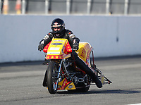 Feb 9, 2019; Pomona, CA, USA; NHRA top fuel Harley Davidson nitro motorcycle rider Michael Balch during the Winternationals at Auto Club Raceway at Pomona. Mandatory Credit: Mark J. Rebilas-USA TODAY Sports