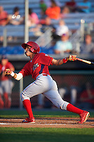 Williamsport Crosscutters second baseman Jose Antequera (2) at bat during a game against the Auburn Doubledays on June 25, 2016 at Falcon Park in Auburn, New York.  Auburn defeated Williamsport 5-4.  (Mike Janes/Four Seam Images)